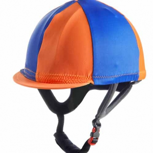 Custom color lycra helmet cover cap with button. Ornella Prosperi, italian made clothing and accessories for jockeys and horses.